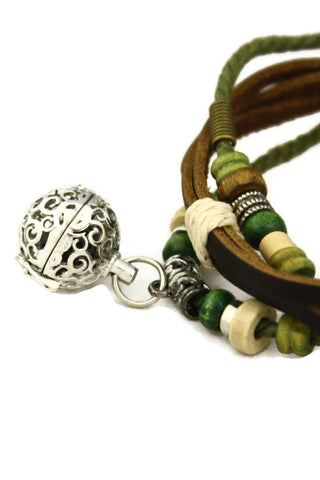 """Forest"" Essential Oil Diffuser Bracelet- Brown Leather-Diffuser Bracelet-Destination Oils"