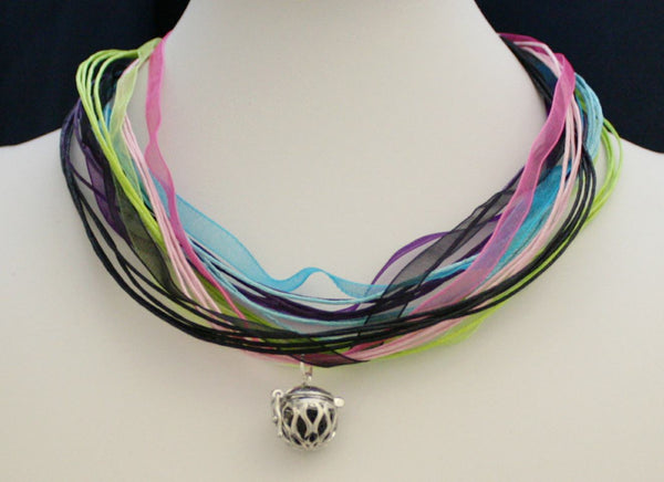 """Harmony"" Interchangeable Essential Oil Diffuser Necklace- 17-19"" Organza- 5 colors-Diffuser Necklace-Destination Oils"
