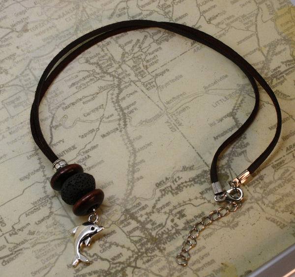 "Dolphin Essential Oil Diffuser Necklace- 18-20"" Leather Cord-Diffuser Necklace-Destination Oils"