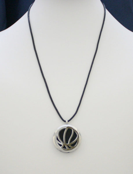 """Basketball"" 316L Stainless Steel Essential Oil Diffuser Necklace- 18-20"" Black Cowhide-Diffuser Necklace-Destination Oils"