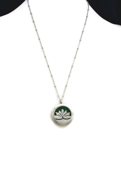 """Lotus"" Flower 316L Stainless Steel Essential Oil Diffuser Necklace- 20""-Diffuser Necklace-Destination Oils"