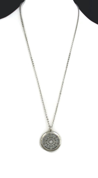 """Let it Snow"" Snowflake 316L Stainless Steel Essential Oil Diffuser Necklace- 24""-Diffuser Necklace-Destination Oils"