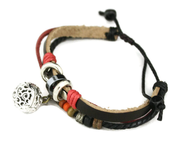"Diffuser Bracelet - ""Flame"" Adjustable Brown Leather Essential Oil Diffuser Bracelet"