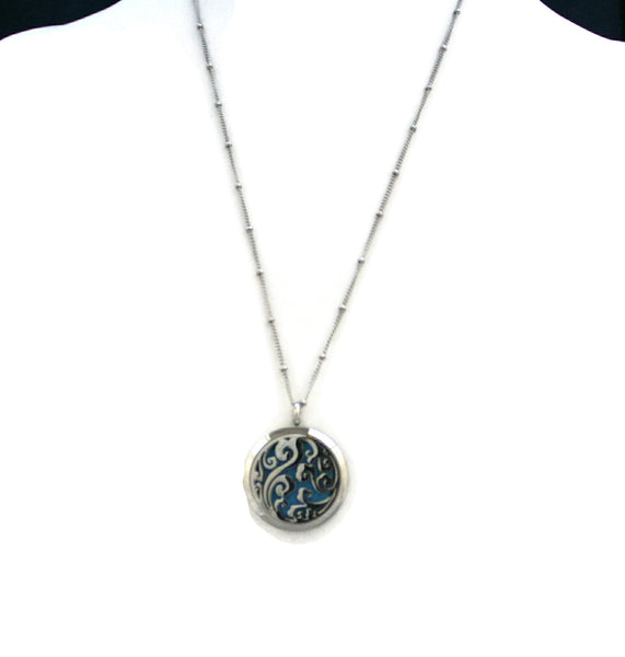 """Swirl"" Filigree 316L Stainless Steel Essential Oil Diffuser Necklace- 30mm- 20""-Diffuser Necklace-Destination Oils"