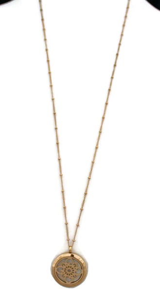 "Grace Rose Gold Stainless Steel Essential Oil Diffuser Necklace- 30mm- 30""-Diffuser Necklace-Destination Oils"