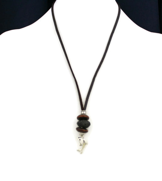 """Dolphin"" Essential Oil Diffuser Necklace- 18-20"" Leather Cord-Diffuser Necklace-Destination Oils"