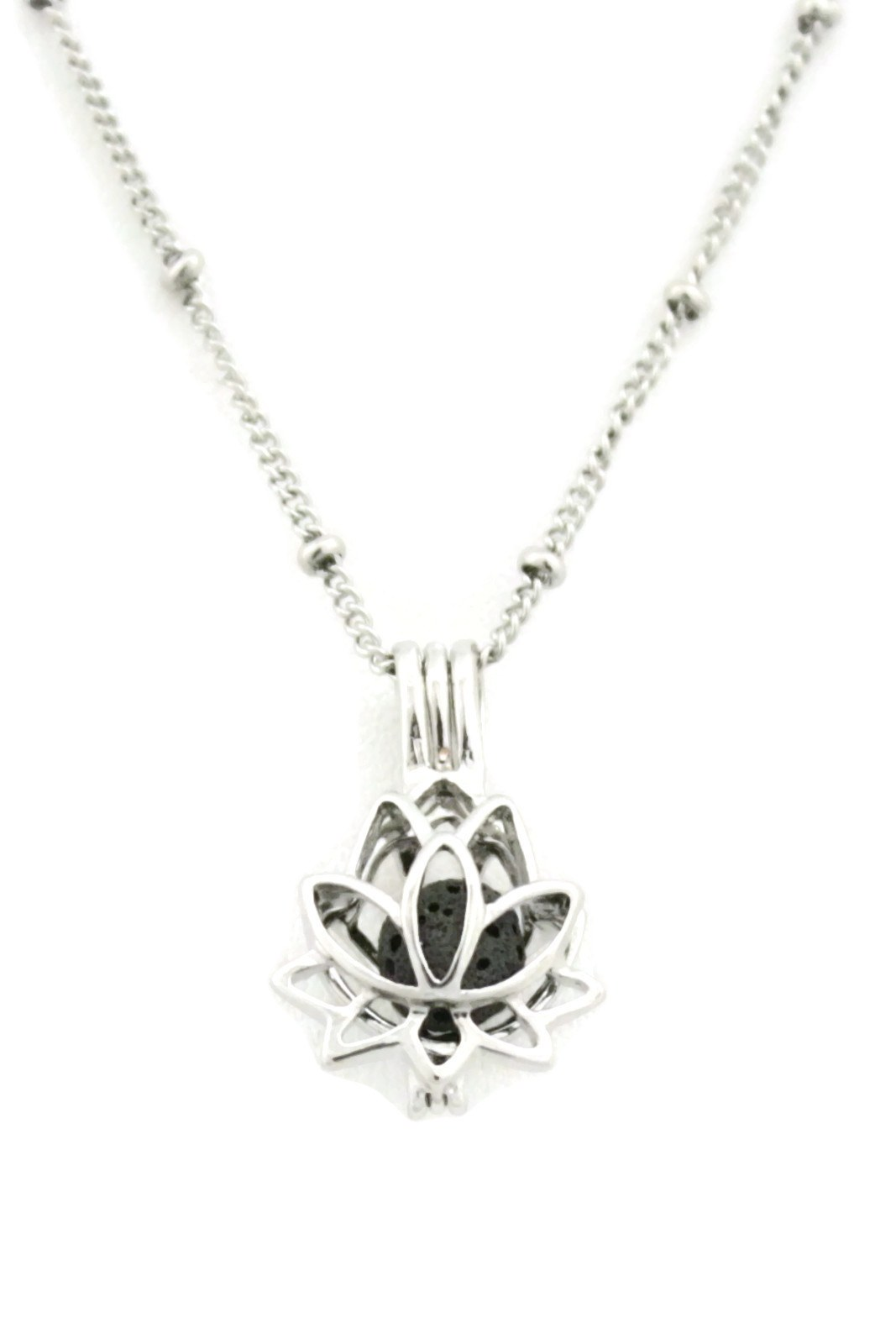 "Glory Lotus Flower Silver Essential Oil Diffuser Necklace- 18""-Diffuser Necklace-Destination Oils"