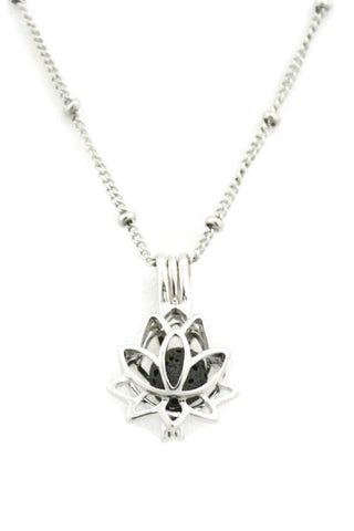 "Diffuser Necklace - ""Glory"" Lotus Flower 316L Stainless Steel Silver Essential Oil Diffuser Necklace- 18"""
