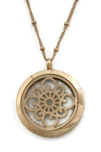 "Diffuser Necklace - ""Grace"" Rose Gold 316L Stainless Steel Essential Oil Diffuser Necklace- Long 30"""
