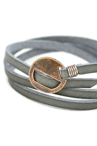 Wrapped Gray Essential Oil Leather Bracelet- Slide Closure-Diffuser Bracelet-Destination Oils