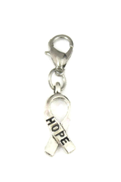 Hope Ribbon Silver Jewelry Charm-Jewelry Charm-Destination Oils