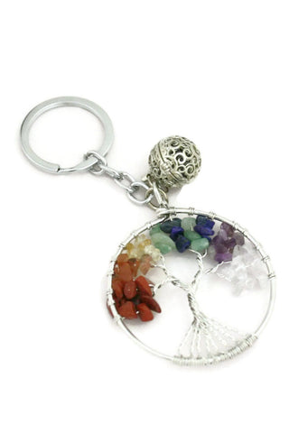 """Chakra Tree"" Essential Oil Diffuser Keychain- Multi-colored-Diffuser Bracelet-Destination Oils"