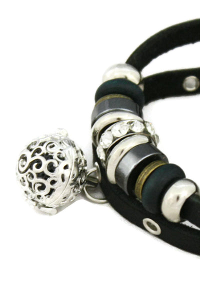 Modern Charm Essential Oil Diffuser Bracelet- Black Leather-Diffuser Bracelet-Destination Oils