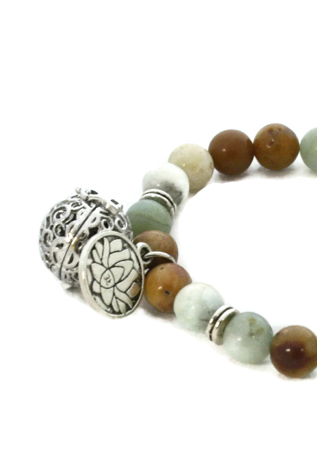 Canyon Natural Stone Essential Oil Diffuser Bracelet- Lotus Charm-Diffuser Bracelet-Destination Oils