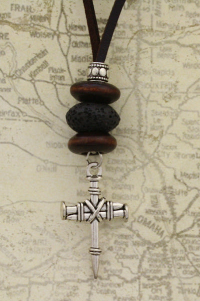 "Nailed Cross Essential Oil Diffuser Necklace- 18-20"" Leather Cord-Diffuser Necklace-Destination Oils"