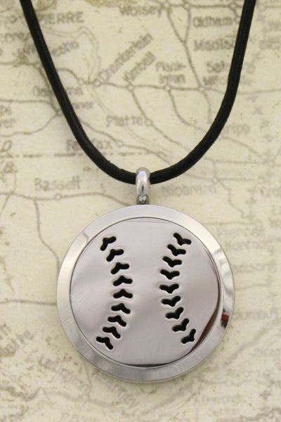 Boys Essential Oil Diffuser Necklace- Baseball Leather