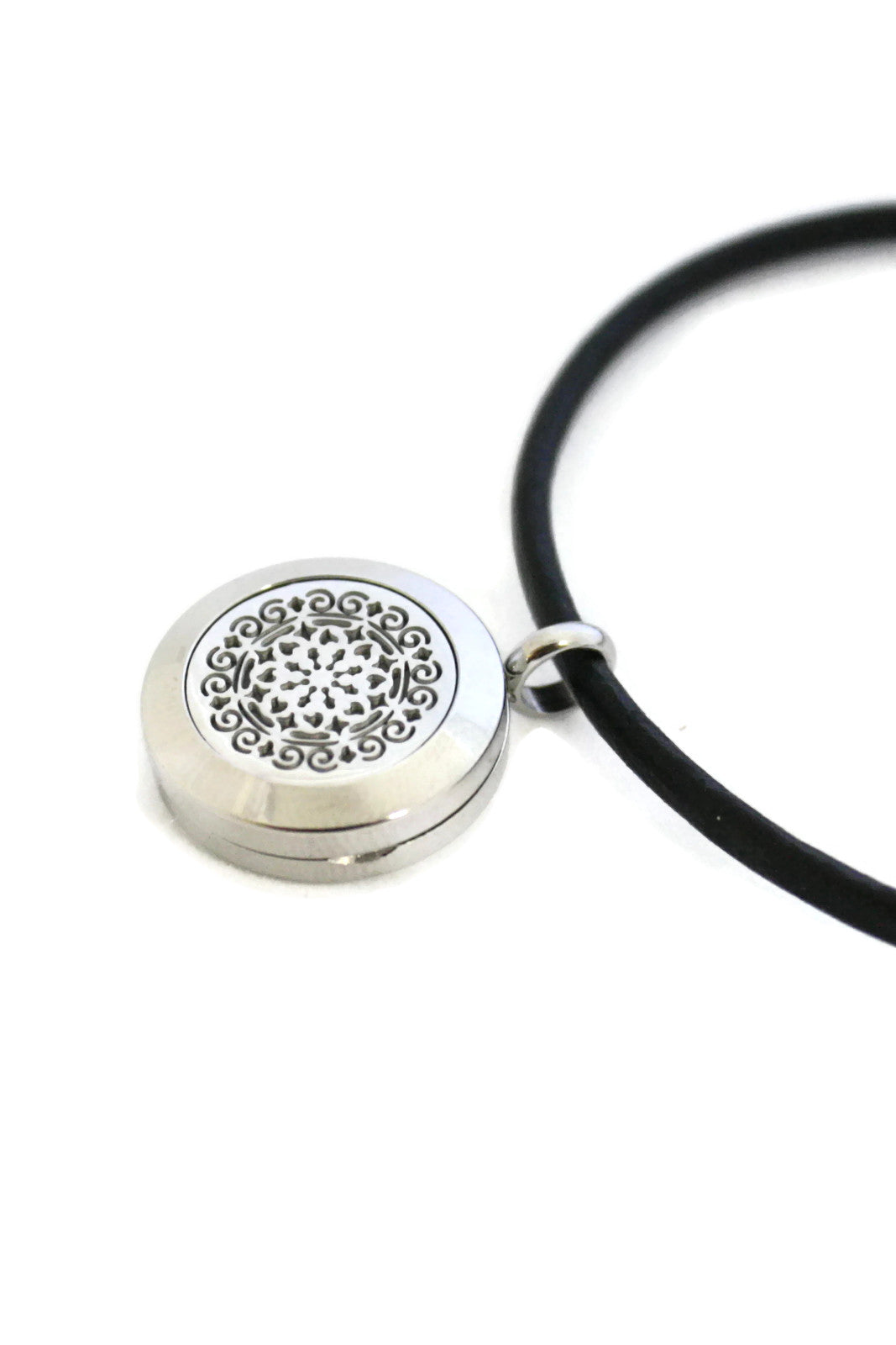 Charmed Black Leather Oil Diffuser Bracelet- Stainless Steel- 20mm-Diffuser Bracelet-Destination Oils