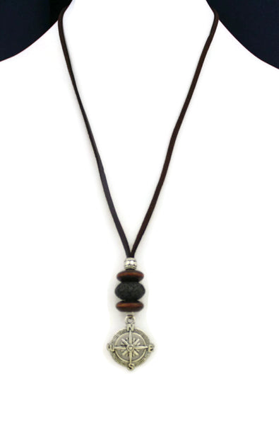 "Compass Essential Oil Diffuser Necklace- 18-20"" Leather Cord-Diffuser Necklace-Destination Oils"