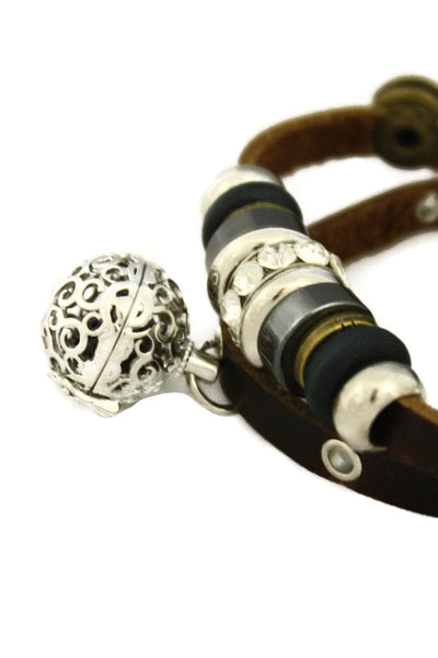 """Modern"" Charm Essential Oil Diffuser Bracelet- Brown Leather-Diffuser Bracelet-Destination Oils"