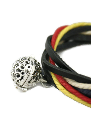 "Diffuser Bracelet - ""Nautical"" Adjustable Essential Oil Diffuser Bracelet- Black Leather"