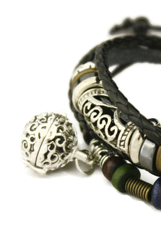 """Pizzazz"" Essential Oil Diffuser Bracelet- Black Leather- Adjustable-Diffuser Bracelet-Destination Oils"