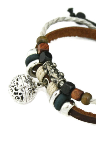 Rustic Wood Bead Essential Oil Diffuser Bracelet- Brown Leather- Adjustable-Diffuser Bracelet-Destination Oils
