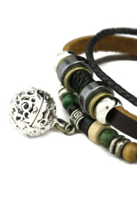 "Diffuser Bracelet - ""Olive"" Green And Brown Leather Essential Oil Diffuser Bracelet"