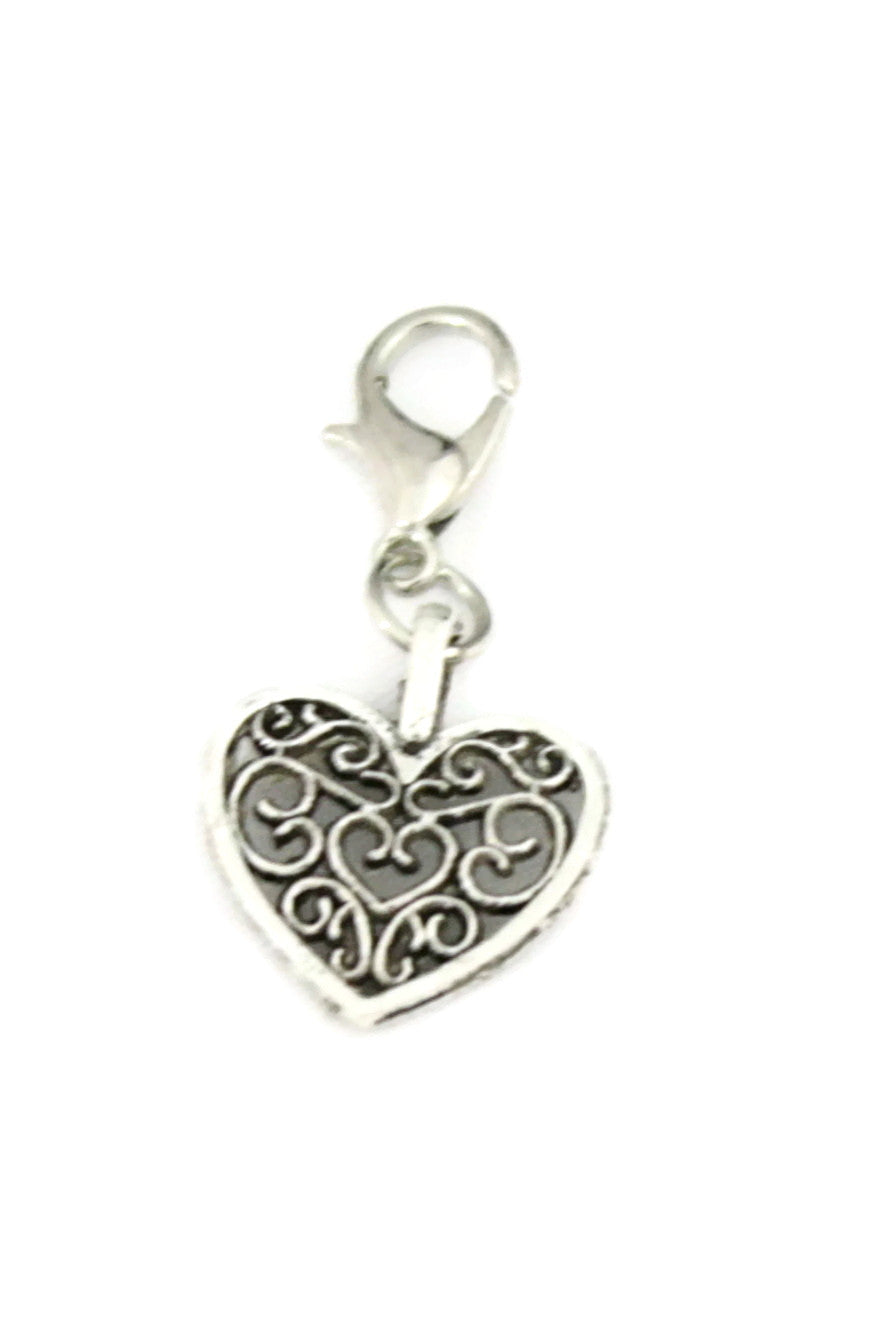 Open Heart Silver Jewelry Charm-Jewelry Charm-Destination Oils
