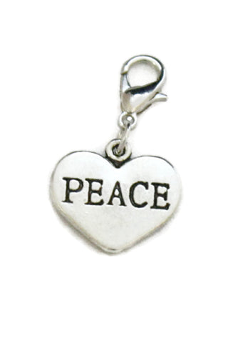 Peace Silver Heart Jewelry Charm-Jewelry Charm-Destination Oils