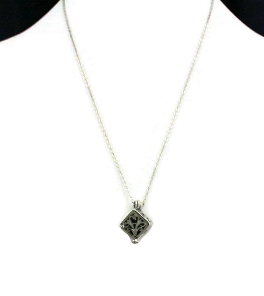 "Diffuser Necklace - ""Wish"" Prayer Box Silver Essential Oil Diffuser Necklace- 18"""