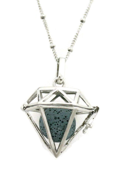 "Diffuser Necklace - ""Radiant"" Large Diamond Lava Stone Essential Oil Diffuser Necklace- 30"""