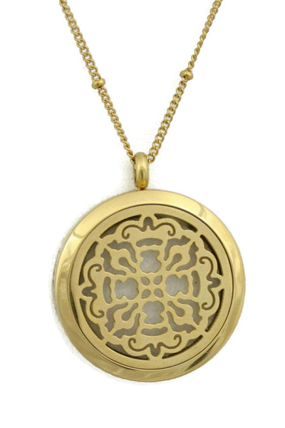 "Diffuser Necklace - ""Relic"" Gold Filigree Long 316L Stainless Steel Silver Essential Oil Diffuser Necklace- 30"""