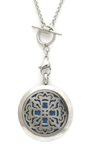 """Relic Silver"" Toggle Close 316L Stainless Steel Essential Oil Diffuser Necklace- 30mm- 30""-Diffuser Necklace-Destination Oils"