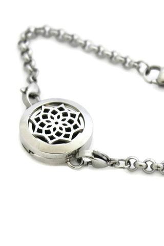 Sacred Lotus Stainless Steel Essential Oil Diffuser Bracelet- 20mm-Diffuser Bracelet-Destination Oils
