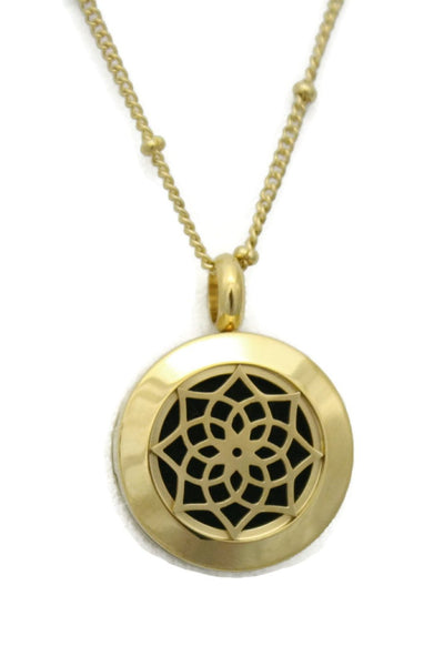 "Sacred Gold Small Lotus Stainless Steel Essential Oil Necklace- 20mm- 18""-Diffuser Necklace-Destination Oils"