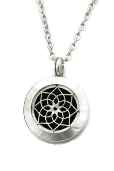 """Sacred"" Lotus 316L Stainless Steel Essential Oil Diffuser Necklace- 20mm- 20""-Diffuser Necklace-Destination Oils"