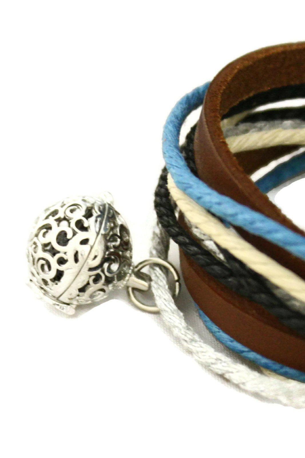 Seaside Leather Wrap Essential Oil Diffuser Bracelet/ Choker Necklace-Diffuser Bracelet-Destination Oils