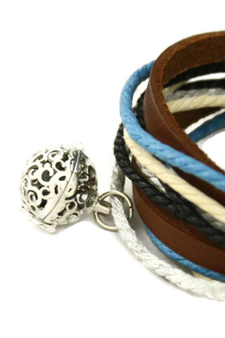 """Seaside"" Leather Wrap Essential Oil Diffuser Bracelet/ Choker Necklace-Diffuser Bracelet-Destination Oils"