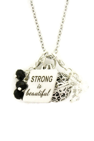 """Strong is Beautiful"" Essential Oil Charm Necklace- 24""-Diffuser Necklace-Destination Oils"