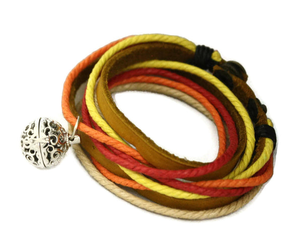"""Sunset"" Leather Wrap Essential Oil Diffuser Bracelet/ Choker Necklace-Diffuser Bracelet-Destination Oils"