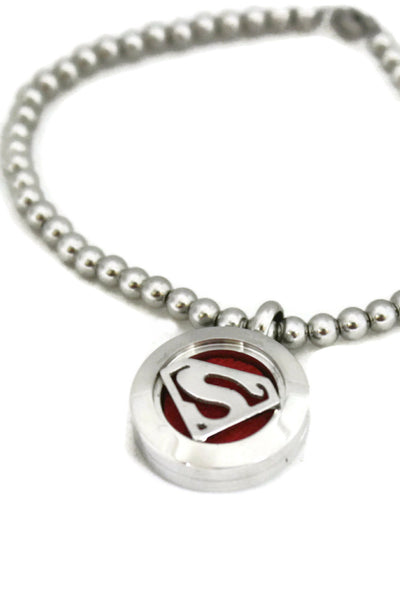 """Superman"" Stretchable Stainless Steel Essential Oil Diffuser Bracelet- 20mm-Diffuser Bracelet-Destination Oils"