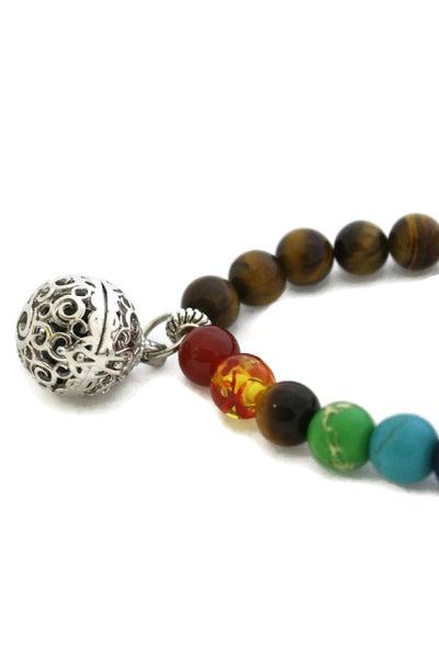 7 Chakra Essential Oil Diffuser Bracelet- Tiger's Eye Stone-Diffuser Bracelet-Destination Oils
