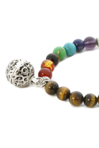 """7 Chakra"" Essential Oil Diffuser Bracelet- Tiger's Eye-Diffuser Bracelet-Destination Oils"