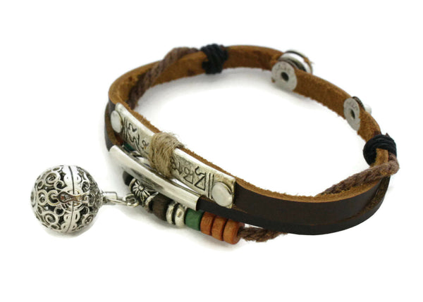 Treasure Essential Oil Diffuser Bracelet- Brown Leather- Snap Closure-Diffuser Bracelet-Destination Oils