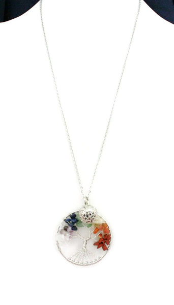 "Chakra Tree Multicolored Essential Oil Diffuser Necklace- 24""-Diffuser Necklace-Destination Oils"