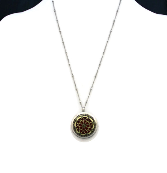 """Unique 2tone"" 316L Stainless Steel Essential Oil Diffuser Necklace- 20""-Diffuser Necklace-Destination Oils"