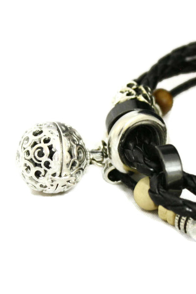 Unite Essential Oil Diffuser Bracelet- Braided Black Leather-Diffuser Bracelet-Destination Oils