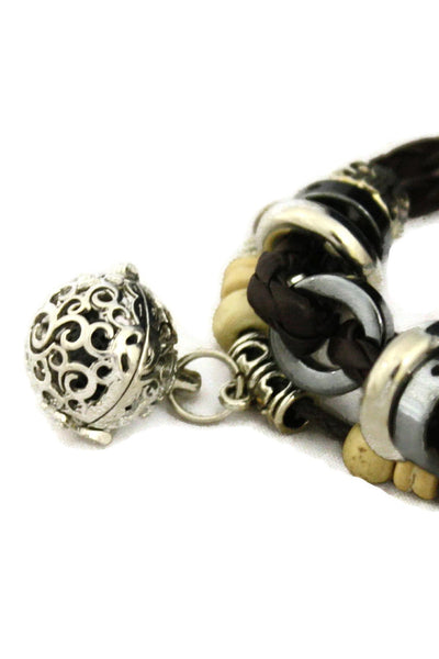 """Unite"" Essential Oil Diffuser Bracelet- Brown Leather Braid-Diffuser Bracelet-Destination Oils"