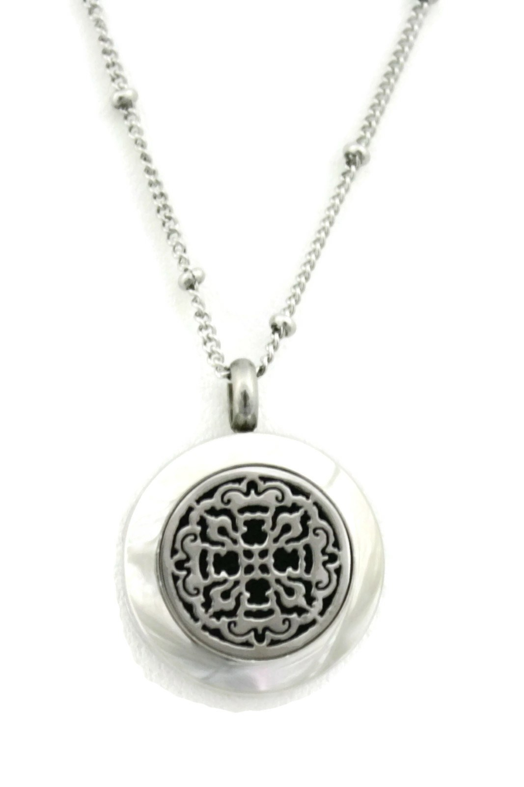 "Allure Small Silver Stainless Steel Essential Oil Diffuser Necklace- 20mm- 18""-Diffuser Necklace-Destination Oils"