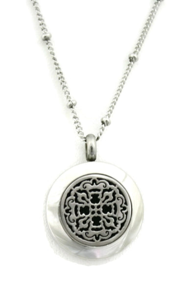 "Diffuser Necklace - ""Allure"" Small Silver 316L Stainless Steel Essential Oil Diffuser Necklace- 18"""